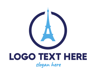 French - Eiffel Circle logo design