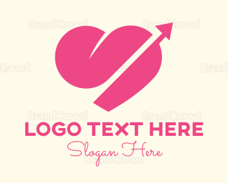 Cupid - Pink Heart Arrow logo design
