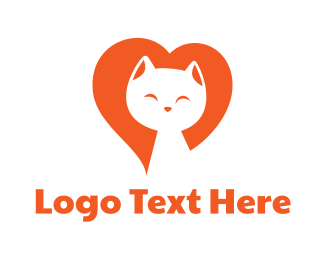 Cartoon Character - Heart Kitten logo design