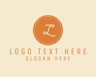Stamp - Vintage Sepia Lettermark Stamp logo design