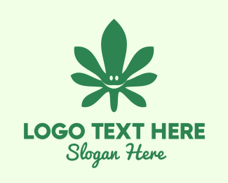 Cannabis Leaf - Cannabis Leaf Smile logo design