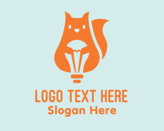 Light Bulb - Light Bulb Squirrel logo design