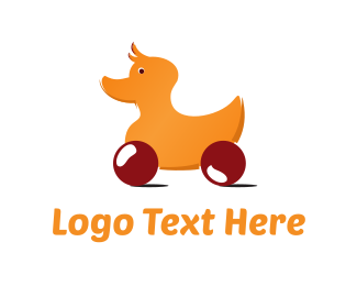 Toy - Rolling  Duck Toy logo design