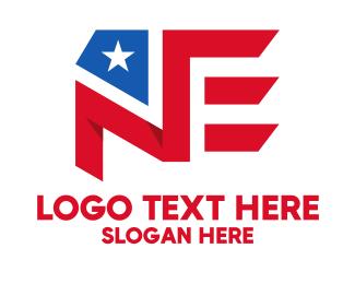 """""""America N & E Flag Monogram """" by ions"""