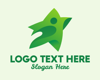 Production Studio - Green Star Person logo design