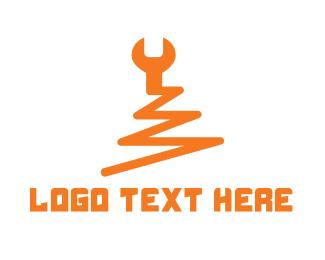 Wrench - Zigzag Wrench logo design