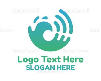 Water - Modern Splash Badge logo design