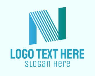 Typography - Blue Line Motion Letter N logo design
