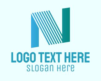 Blue Line Motion Letter N Logo