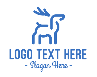 Deer - Blue Abstract Deer logo design