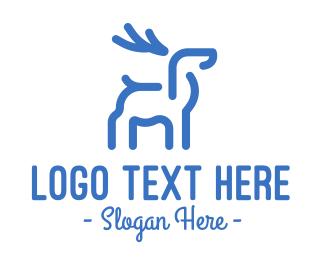 Antlers - Blue Abstract Deer logo design