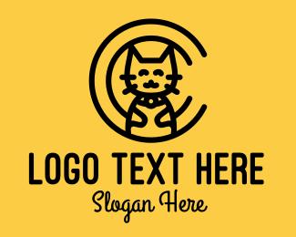 Meow - Cat Monoline Letter C logo design