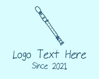 Wind Instrument - Blue Flute Monoline  logo design