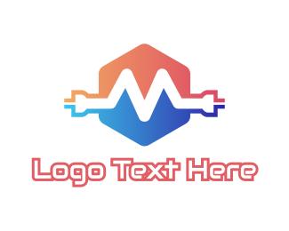 Plug - Wire M Plug logo design
