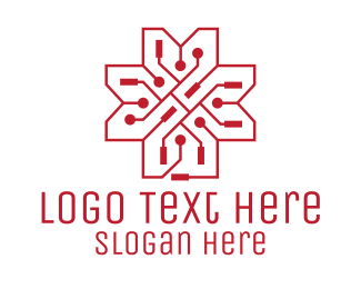 Wireframe - Tech Circuit Flower logo design