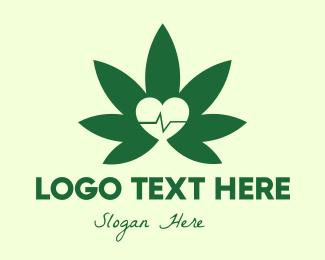 Heart Pulse - Green Healthy Weed logo design