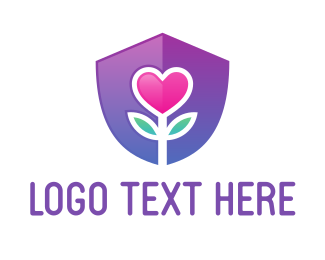 Friendship - Flower Heart Shield logo design