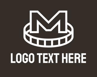 M - White Film Reel Letter M logo design
