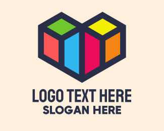 Geometrical - Colorful Geometric Heart logo design