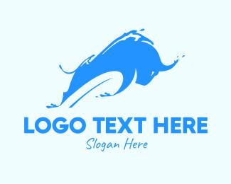 Oxen - Blue Bull Water Splash logo design