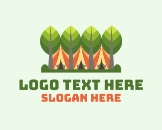 Camping Site - Forestry Camping Tent logo design