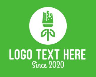 Skyline - Green Flower Skyline  logo design