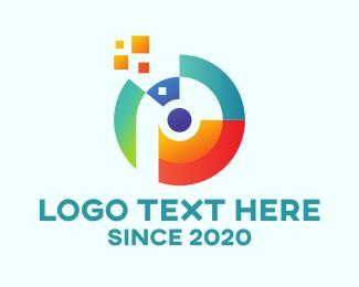 Pointy - Digital Letter P Disc logo design