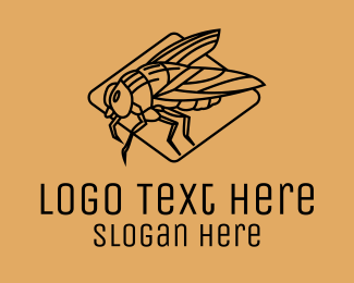 Red Insect - Fly Insect Line Art  logo design