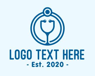 Blue Medical Stethoscope Logo
