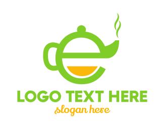 Herbal - Teapot Letter E logo design