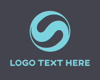 Curved - Blue Letter S logo design