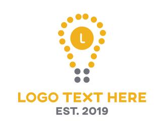 Flashlight - Dot Bulb logo design