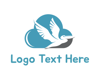Blue Feather - Pelican & Cloud logo design
