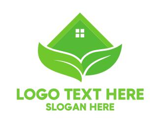Hut - Green House Leaves logo design