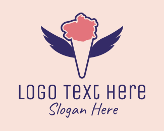 Ice Cream Sundae - Ice Cream Wings  logo design