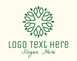 Tree Branch - Decorative Green Leaves logo design
