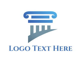 Courthouse - Blue Column logo design