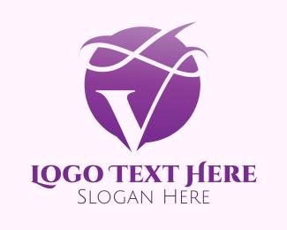 Swirls - Violet Letter V Swirls logo design