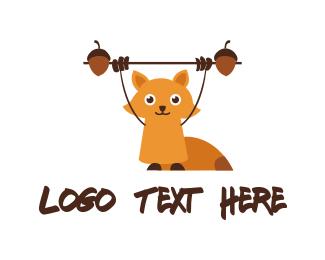Acorn - Fitness Cute Squirrel logo design