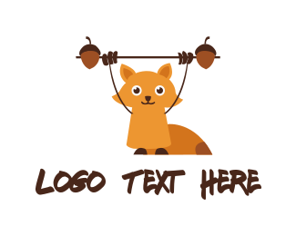 Weights - Fitness Cute Squirrel logo design