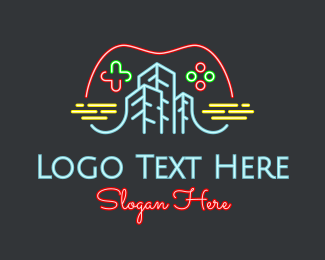 Video Game - Neon Video Game City logo design