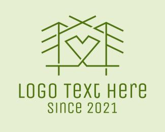 Minimalist - Forest House Heart  logo design