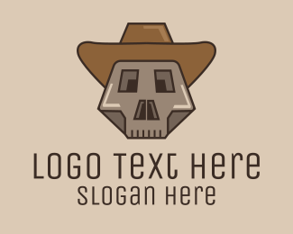 Bones - Geometric Skeleton Cowboy logo design