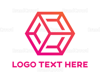 Dynamic - Gradient Pink Hexagon Cube logo design