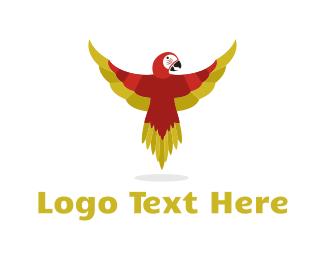 Exotic - Red Parrot logo design