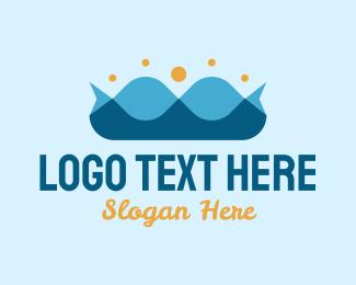 Seaside - Ocean Wave Crown logo design