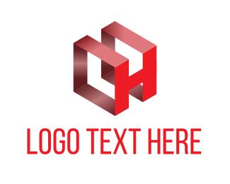 Shadow - Red Letter H logo design