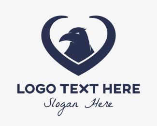 Crow - Blue Raven Heart logo design
