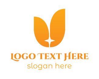 Tulip - Orange Star Tulip logo design