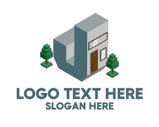 House - Modern Building Letter J logo design